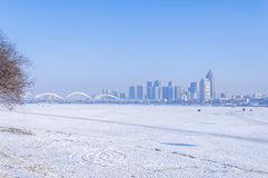 The songhua river. The snow covered the  river in winter in haerbing,China Stock Photo
