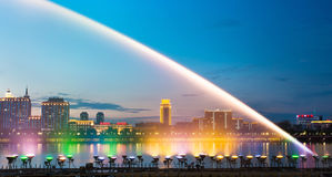 Songhua River Summer Music Fountain. Eastphoto, tukuchina, Songhua River Summer Music Fountain Royalty Free Stock Photos