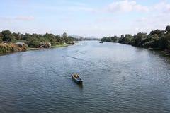 Songkalia river. Boat on the songkalia river Stock Photos