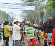 Songkarn festival 2014. Ayutthaya Thailand -April 13, 2014 - elephant greeting with tourist in Songkarn day Stock Image
