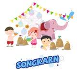 Songkarn festival i Thailand, thailändskt nytt år - Royaltyfria Foton