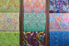 Songket textiles. Songket is a fabric that belongs to the brocade family of textiles of the Malay world today Indonesia, Malaysia, Brunei, Singapore and Southern Royalty Free Stock Images
