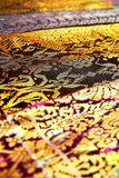 Songket textiles. Songket is a fabric that belongs to the brocade family of textiles of the Malay world today Indonesia, Malaysia, Brunei, Singapore and Southern stock photos