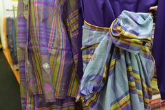 Songket textiles. Songket is a fabric that belongs to the brocade family of textiles of the Malay world today, Indonesia, Malaysia, Brunei, Singapore and stock photography