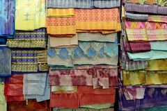 Songket textiles. Songket is a fabric that belongs to the brocade family of textiles of the Malay world today, Indonesia, Malaysia, Brunei, Singapore and stock image