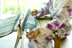 Songket weaver. The process of traditional Songket weaver royalty free stock photos