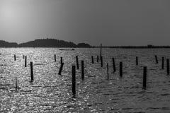 Songkhla湖视图黑白照片 免版税图库摄影