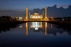 Songkhla Central mosque, Thailand. Central mosque with reflection at dusk, Songkhla, Thailand Stock Photo