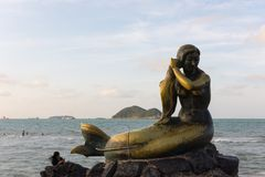 Songkhla Golden Mermaid. A public sculpture of mermaid on Samila Beach, Songkhla, Thailand that was buit up from a local tale Stock Image