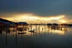 Songkhla Lake. Waterside Villege at Yor island, Songkhla lake, Thailand Stock Photos