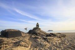 SONGKHLA TAJLANDIA, Wrzesień, - 26: Syrenki statua na Wrześniu 26,2016 przy Samila plażą, Songkhla, Tajlandia Syrenki statua Obraz Royalty Free