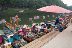 SONGKHLA, THAILAND - AUGUST 11:A. Lot of Songkhla Merchants sell food in their boats for tourists that almost come from Malaysia on Aug 11, 2012 at Songkhla Stock Photography