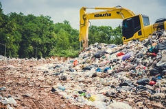 SONGKHLA, THAILAND - AUGUST 4: Municipal waste disposal. By open dump procese. Dump site at Hatyai Songkhla on AUGUST 4, 2015 in SONGKHLA PROVINCE THAILAND stock photo