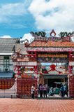 Songkhla, THAILAND - Old vintage historic dragon gate of Songkhla city pillar shrine with Chinese architecture at. FEB 28, 2013 Songkhla, THAILAND - Old vintage stock photography