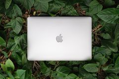 SONGKHLA THAILAND - September 22, 2018: Apple Macbook mönstrar pro-datoren på gröna sidor, plant lekmanna-, skapat av Apple Inc royaltyfria bilder