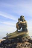 SONGKHLA, THAILAND - September 26: Meerminstandbeeld op 26,2016 September bij Samila-strand, Songkhla, Thailand Stad van Cascais Royalty-vrije Stock Afbeelding