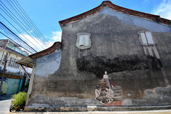 SONGKHLA, THAILAND - September 19, 2016. Street art Painting on wall. SONGKHLA, THAILAND - September 19, 2016. Street art Painting on old wall in Old town Stock Photography