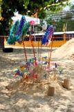 Songkran节日的小沙子塔,泰国 图库摄影
