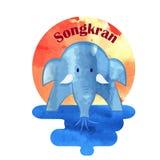 Songkran, Año Nuevo tailandés, festival del agua ilustración del vector