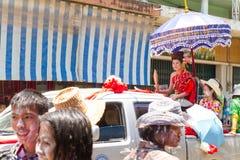 Songkran beauty contest. NAKHON SAWAN - APRIL 13 : Female Thai beauty contestant at a Thai Songkran festival Ladyao district market, April 13, 2012 in Nakhon Royalty Free Stock Photos