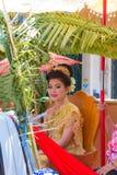 Songkran beauty contest. NAKHON SAWAN - APRIL 13 : Female Thai beauty contestant at a Thai Songkran festival Ladyao district market, April 13, 2012 in Nakhon Royalty Free Stock Image