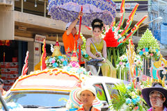 Songkran beauty contest. NAKHON SAWAN - APRIL 13 : Female Thai beauty contestant at a Thai Songkran festival Ladyao district market, April 13, 2012 in Nakhon Stock Image