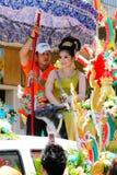 Songkran beauty contest. NAKHON SAWAN - APRIL 13 : Female Thai beauty contestant at a Thai Songkran festival Ladyao district market, April 13, 2012 in Nakhon Royalty Free Stock Photo