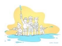 Songkran, beeldverhaaljongen en toerisme met het waterfestival van Thailand, exemplaarruimte vector illustratie