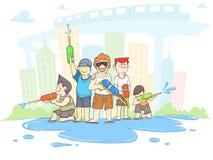 Songkran, beeldverhaaljongen en toerisme met het waterfestival van Thailand, exemplaarruimte stock illustratie