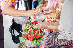 Songkran ceremony in Thailand. Respect elders in Songkran ceremony Thailand Royalty Free Stock Image
