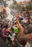 Songkran in Chiang Mai, Thailand. On the 13th of April 2014.nPeople dancing and throwing water and foam at each other Royalty Free Stock Photo