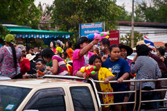 Songkran day. People get wash on Songkran day in Srakaew,Thailand Royalty Free Stock Photo