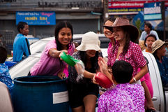 Songkran day. People get wash on Songkran day in Srakaew,Thailand Stock Photography