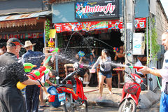 Songkran Day. Tourists having fun with water guns on Songkran Day Stock Image