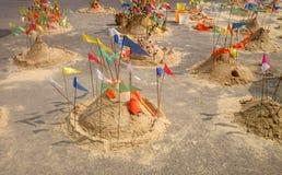 Songkran Fastival. Sand pagodo for pray on songkran fastival royalty free stock photography