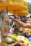 Songkran festiva. L tradition in the thai temple stock images