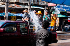 Songkran Festival. Is celebrated in Thailand as the traditional New Year's Day from 13 to 15 April by throwing water at each other In Uttaradit 2012 stock images
