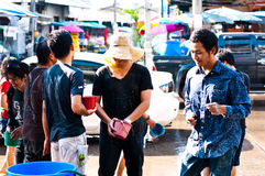 Songkran Festival. Is celebrated in Thailand as the traditional New Year's Day from 13 to 15 April by throwing water at each other In Uttaradit 2012 royalty free stock photography