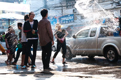 Songkran Festival. Is celebrated in Thailand as the traditional New Year's Day from 13 to 15 April by throwing water at each other In Uttaradit 2012 stock photos