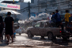 Songkran Festival. Is celebrated in Thailand as the traditional New Year's Day from 13 to 15 April by throwing water at each other In Uttaradit 2012 royalty free stock photo