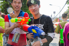 Songkran festival on April 14, 2015 Chiangmai,Thailand. CHIANG MAI THAILAND - APRIL 14 : Chiangmai Songkran festival.Unidentified  traveler  enjoy and fun with Stock Photography