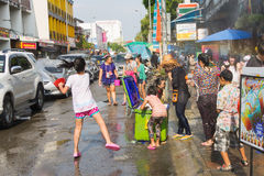 Songkran festival on April 14, 2015 Chiangmai,Thailand. CHIANG MAI THAILAND - APRIL 14 : Chiangmai Songkran festival.Unidentified  traveler  enjoy and fun with Royalty Free Stock Image