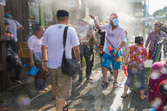 Songkran festival on April 14, 2015 Chiangmai,Thailand. CHIANG MAI THAILAND - APRIL 14 : Chiangmai Songkran festival.Unidentified  traveler  enjoy and fun with Stock Photos