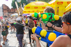 Songkran festival on April 14, 2015 Chiangmai,Thailand. CHIANG MAI THAILAND - APRIL 14 : Chiangmai Songkran festival.Unidentified  traveler  enjoy and fun with Stock Images