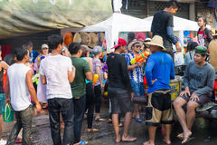 Songkran festival on April 14, 2015 Chiangmai,Thailand. CHIANG MAI THAILAND - APRIL 14 : Chiangmai Songkran festival.Unidentified  traveler  enjoy and fun with Stock Image