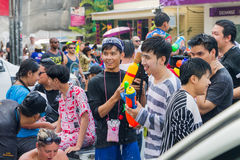 Songkran festival on April 14, 2015 Chiangmai,Thailand. CHIANG MAI THAILAND - APRIL 14 : Chiangmai Songkran festival.Unidentified  traveler  enjoy and fun with Royalty Free Stock Photos