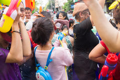 Songkran festival on April 14, 2015 Chiangmai,Thailand. CHIANG MAI THAILAND - APRIL 14 : Chiangmai Songkran festival.Unidentified  traveler  enjoy and fun with Royalty Free Stock Photo