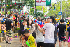 Songkran festival on April 14, 2015 Chiangmai,Thailand. CHIANG MAI THAILAND - APRIL 14 : Chiangmai Songkran festival.Unidentified  traveler  enjoy and fun with Stock Photo