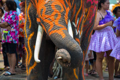 Songkran Festival in Ayudhya. Elephants join in the Songkran Festival in Ayuttaya to promote the tourism industry during 13-15 April each year stock image