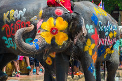 Songkran Festival in Ayudhya. Elephants join in the Songkran Festival in Ayuttaya to promote the tourism industry during 13-15 April each year Royalty Free Stock Photo